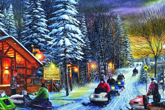 Gallery Wrapped Canvas LED Art Vintage Snowmobiles Poker Run Kevin Daniel, Moose-R-Us.Com Log Cabin Decor