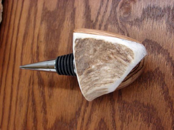 Real Elk Deer Antler Wine Bottle Corkscrew, Moose-R-Us.Com Log Cabin Decor