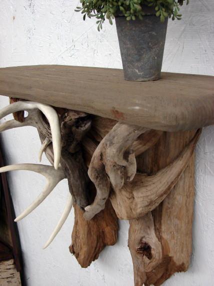 Rustic Driftwood Real Deer Antler Wall Shelf, Moose-R-Us.Com Log Cabin Decor