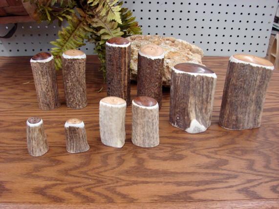 Real Carved Elk Deer Antler Salt and Pepper Shakers, Moose-R-Us.Com Log Cabin Decor