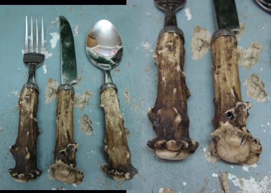 Rustic Deer Antler Northwoods Flatware 3 Piece Silverware Set, Moose-R-Us.Com Log Cabin Decor