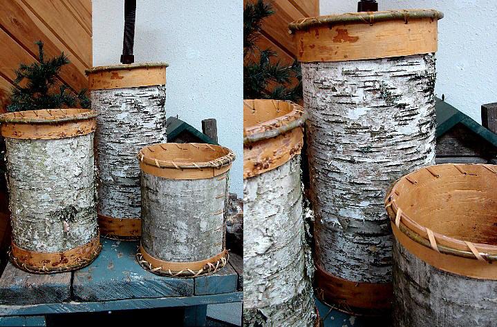 Authentic Native American Indian Birch Bark Trash Can Oversized Waste Hamper Basket, Moose-R-Us.Com Log Cabin Decor