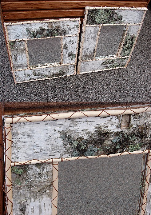 MN Ojibwe Indian Birch Bark Peeled Twig Mirror 26 x 22, Moose-R-Us.Com Log Cabin Decor