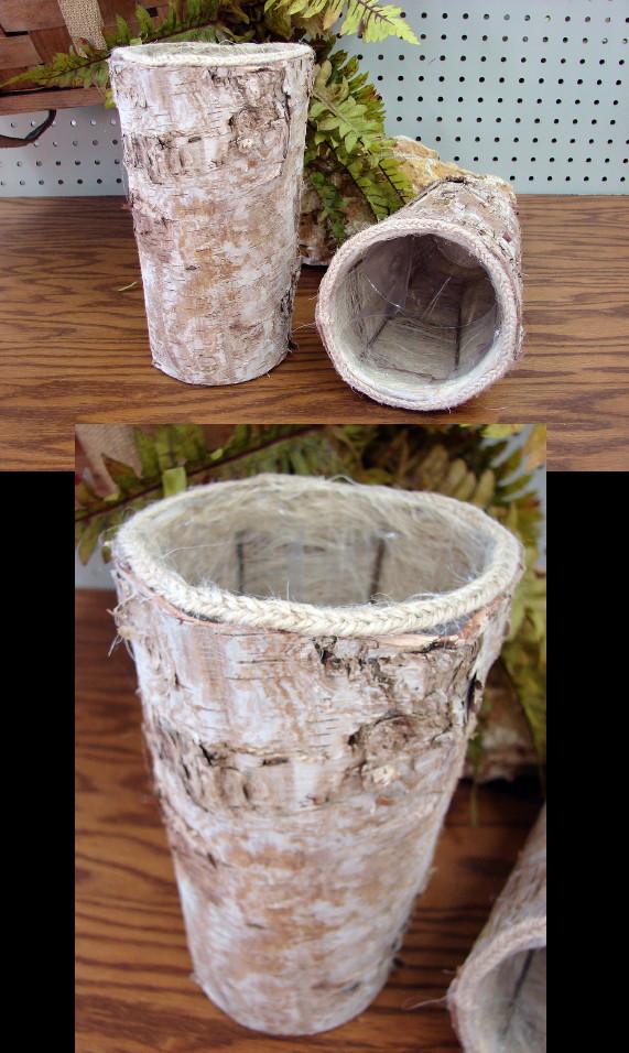 Real Birch Bark Vase Flower Pot Lined Rustic Wedding Table, Moose-R-Us.Com Log Cabin Decor