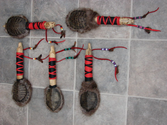 Authentic Native American Indian Turtle Shell Dance Rattle Child Lady Size, Moose-R-Us.Com Log Cabin Decor