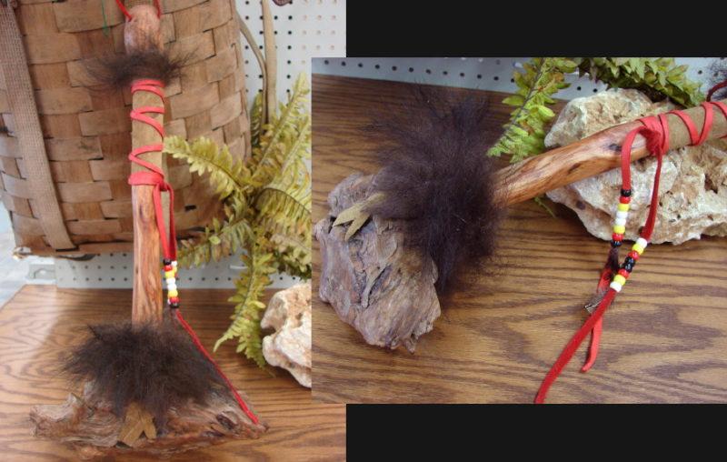 Bonga Driftwood Bear Fur War Dance Club, Moose-R-Us.Com Log Cabin Decor