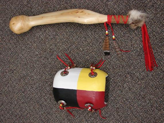 Authentic Native American Indian Cedar Knot Pow Wow Dance Shield and Shaft Set, Moose-R-Us.Com Log Cabin Decor