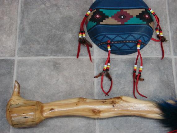 Authentic Native American Indian Cedar Dance Shaft and Southwest Patterned Shield, Moose-R-Us.Com Log Cabin Decor