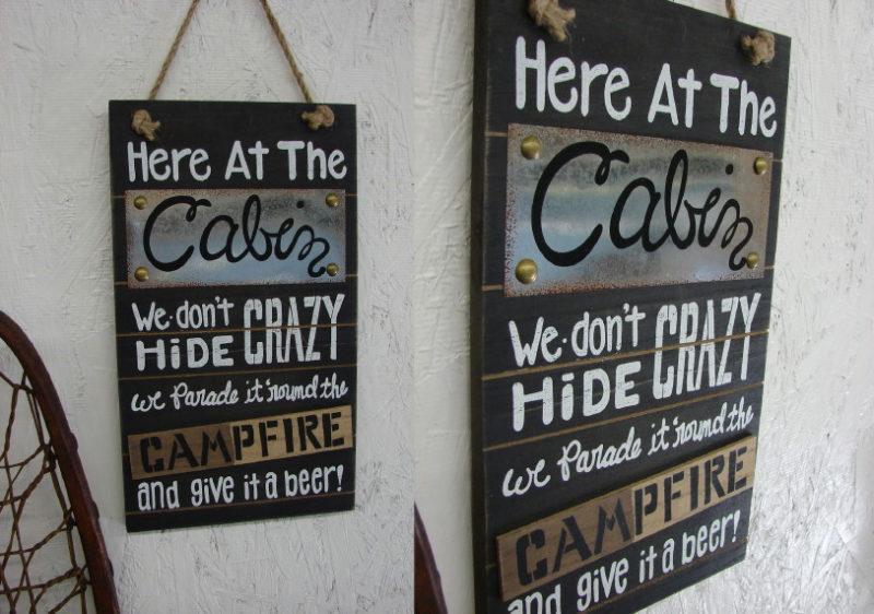 Funny Wood Cabin Crazy Campfire Sign, Moose-R-Us.Com Log Cabin Decor