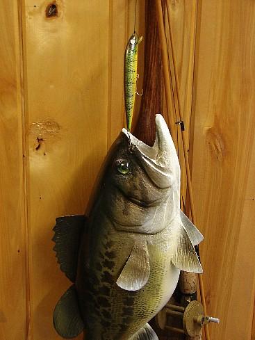 Wood Carved Casey Edwards Bass on Canoe Paddle Fishing Pole, Moose-R-Us.Com Log Cabin Decor