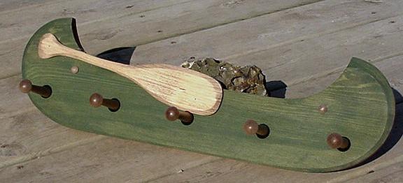 Country Pine Distressed Red or Green Canoe Shaped Shelves Peg Rack, Moose-R-Us.Com Log Cabin Decor