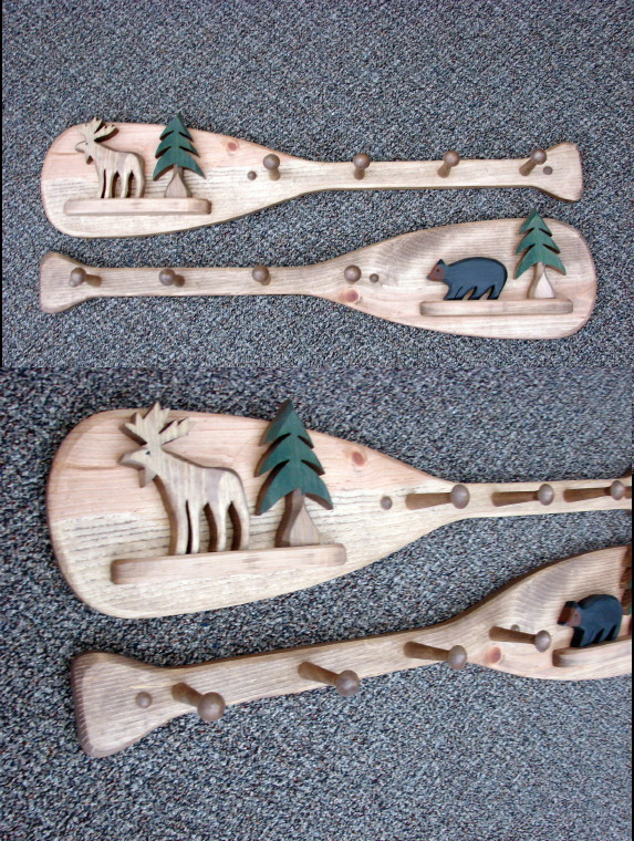 Country Pine Bear or Moose Canoe Paddle Peg Coat Towel Rack, Moose-R-Us.Com Log Cabin Decor
