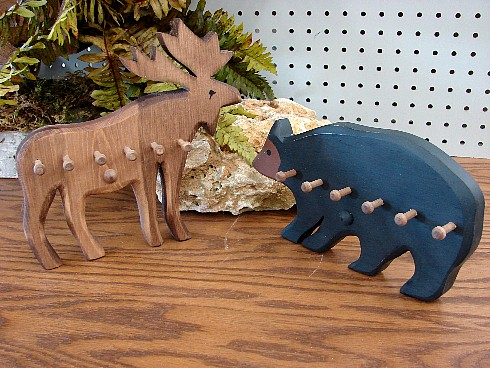 Country Pine Moose Bear Shaped Key Peg Rack, Moose-R-Us.Com Log Cabin Decor