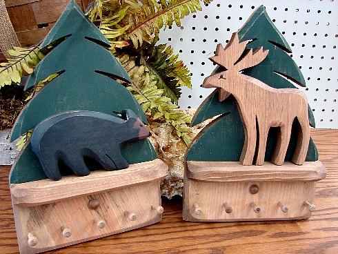 Country Pine Bear or Moose Pine Tree Key Peg Rack, Moose-R-Us.Com Log Cabin Decor