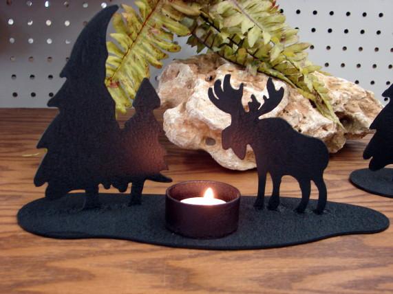 Laser Cut Heavy Duty 12ga Steel Candle Holder Hunting Buffalo Moose Horse USA Made, Moose-R-Us.Com Log Cabin Decor