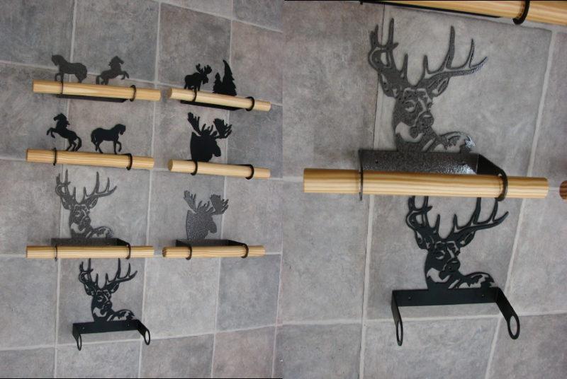 Laser Cut Heavy Duty Iron Hand Towel Bar Buck Horse Moose, Moose-R-Us.Com Log Cabin Decor