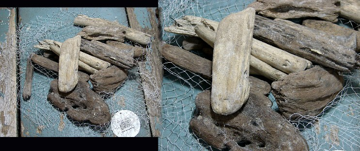 Driftwood Bag Beach Combed Drift Wood Accent Pieces, Moose-R-Us.Com Log Cabin Decor