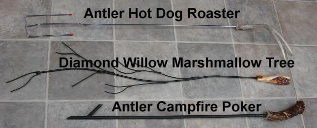 Real Deer Antler Hot Dog Roasting Stick Lake Cabin Campfire Accessories, Moose-R-Us.Com Log Cabin Decor