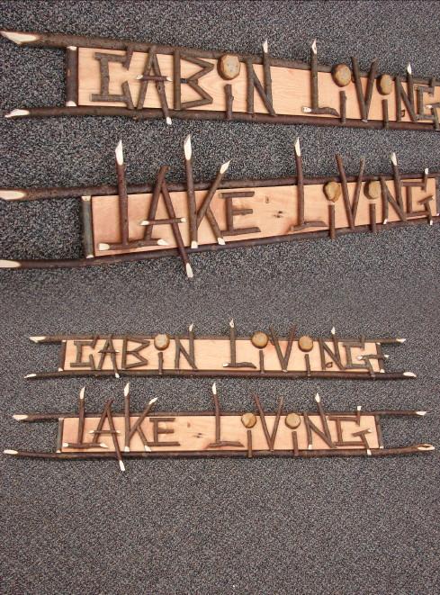 Willow Works Cabin or Lake Living Adirondack Twig Sign, Moose-R-Us.Com Log Cabin Decor