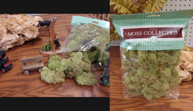Fairy Garden Miniature Doll House Reindeer Moss, Moose-R-Us.Com Log Cabin Decor