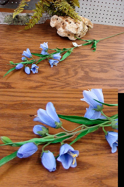 Violet Blue Harebell Bellflower Flowering Pick, Moose-R-Us.Com Log Cabin Decor