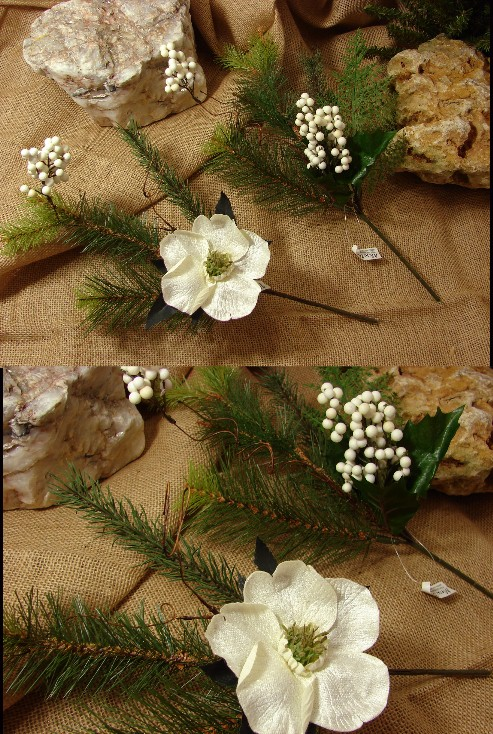 Realistic Artificial Winter Rose Pick, Moose-R-Us.Com Log Cabin Decor