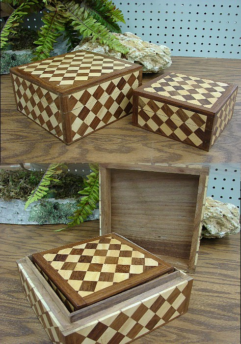 Inlaid Wood Checkerboard Nesting Wooden Box Set, Moose-R-Us.Com Log Cabin Decor