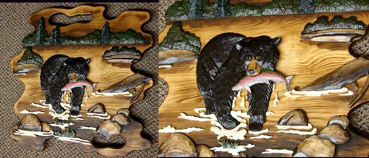 Intarsia Black Bear Fishing Rainbow Trout Wall Picture, Moose-R-Us.Com Log Cabin Decor