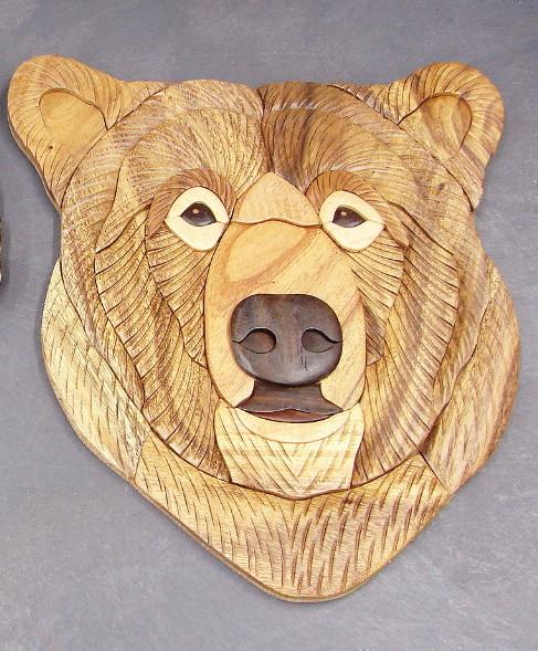 Large Solid Wood Intarsia Inlaid Grizzly Kodiak Bear Head Wall Hanging, Moose-R-Us.Com Log Cabin Decor