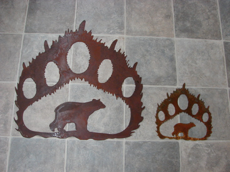 Rustic Iron Bear Track with Bear Silhouette Rustic Cabin Lodge Wall Decor, Moose-R-Us.Com Log Cabin Decor