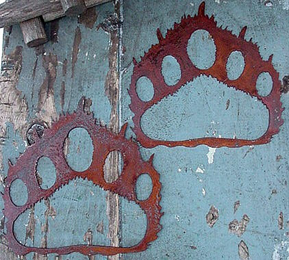 Set/2 Iron Bear Track Silhouette Rustic Cabin Lodge Wall Decor, Moose-R-Us.Com Log Cabin Decor