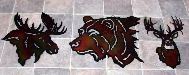 Laser Cut Metal Silhouette Buck Deer Head Wall Hanging, Moose-R-Us.Com Log Cabin Decor
