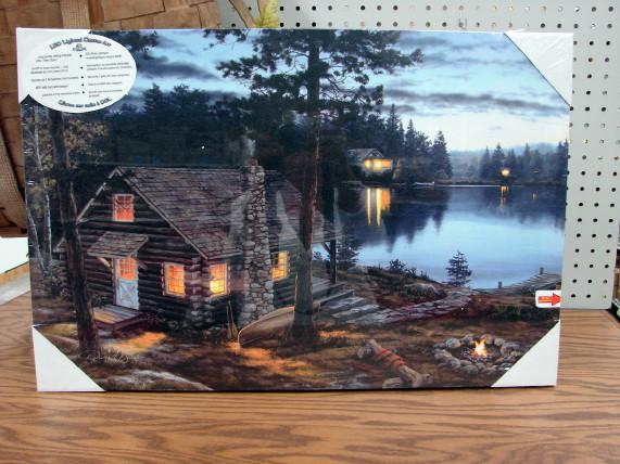 Gallery Wrapped Canvas LED Art Log Cabin Life's Reward Darrell Bush, Moose-R-Us.Com Log Cabin Decor