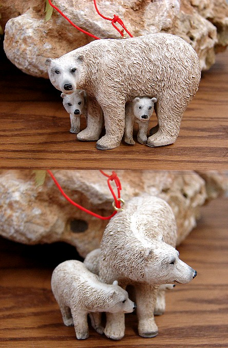 Midwest Detailed Polar Bear with Cubs Ornament, Moose-R-Us.Com Log Cabin Decor