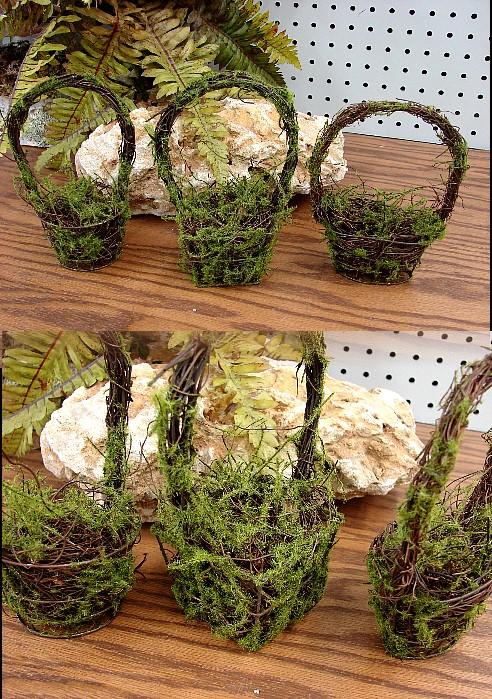 Set/3 Miniature Twig Moss Baskets Rustic Wedding Table Centerpiece, Moose-R-Us.Com Log Cabin Decor