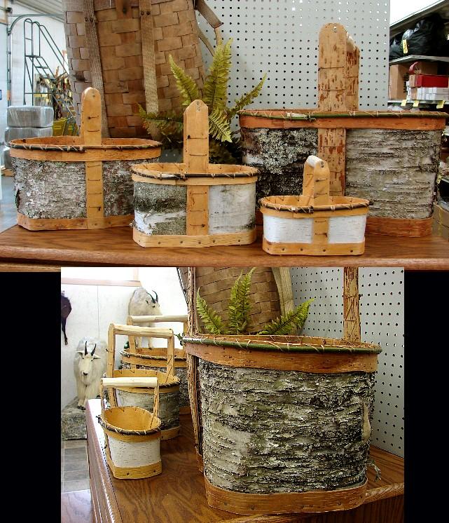 Authentic Native American Indian Handled Birch Bark Flower Basket, Moose-R-Us.Com Log Cabin Decor