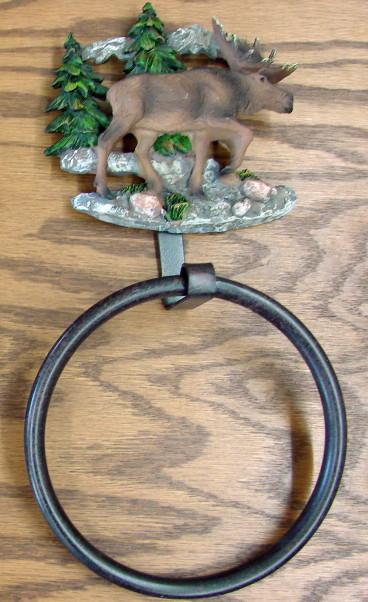 Detailed Resin Moose Mountains Towel Ring Bathroom Kitchen, Moose-R-Us.Com Log Cabin Decor