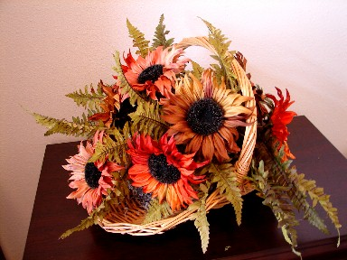 Rich Autumn Sunflower Pick Stem Clay Gold Rust, Moose-R-Us.Com Log Cabin Decor