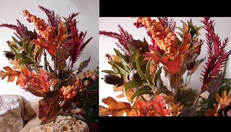 Oakhurst Autumn Leaf Acorn Plume Berry Bush Arrangement, Moose-R-Us.Com Log Cabin Decor