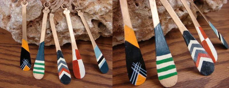 Miniature Adirondack Painted Metal Canoe Paddle Ornament, Moose-R-Us.Com Log Cabin Decor