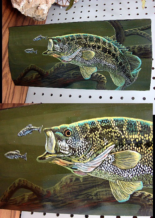 Hand Painted Log Siding Underwater Bass with Minnows Pat King, Moose-R-Us.Com Log Cabin Decor