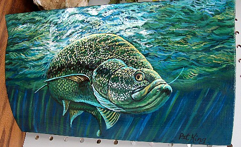 Hand Painted Log Siding Underwater Bass with Minnows Pat King Green Waves, Moose-R-Us.Com Log Cabin Decor