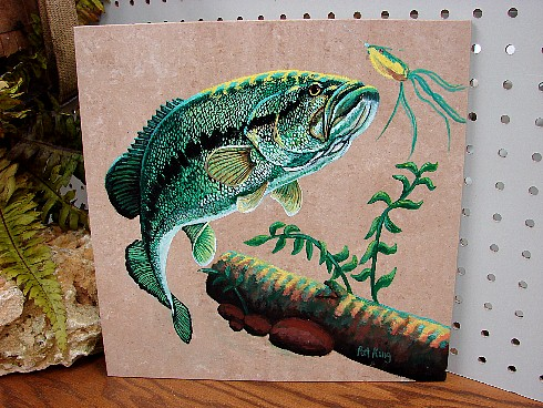 Large Mouth Bass Fishing Hand Painted Tile Pat King Original, Moose-R-Us.Com Log Cabin Decor