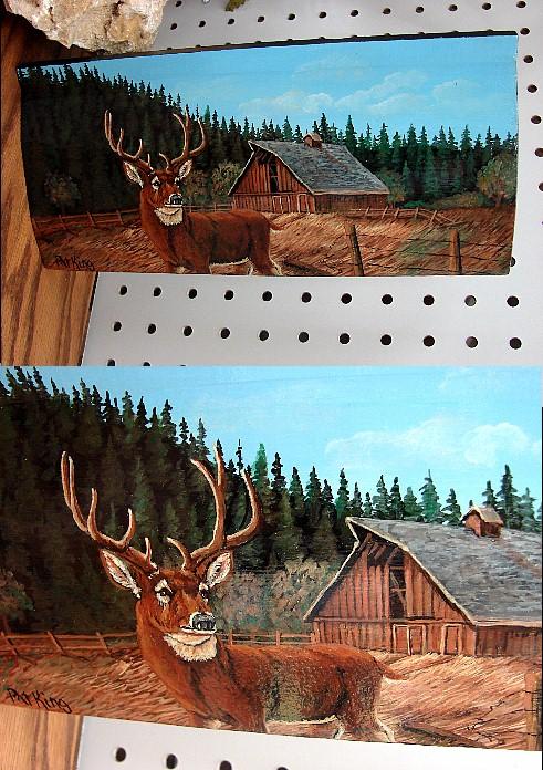 Hand Painted Whitetail Deer Barn Forest Pat King Log Siding, Moose-R-Us.Com Log Cabin Decor