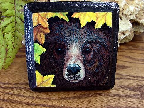 Pat King Bear Face Autumn Leaves Hand Painted Wood Square, Moose-R-Us.Com Log Cabin Decor