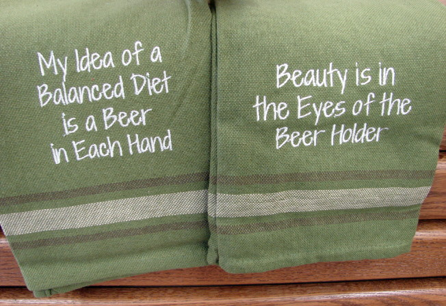 PD Beer Embroidered Dishtowel Beauty in the Eyes, Moose-R-Us.Com Log Cabin Decor
