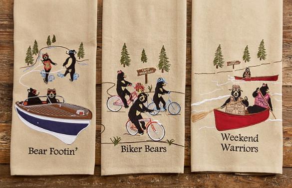 Cotton Embroidered Black Bear Boat Bike Canoe Cabin Themed Dishtowel, Moose-R-Us.Com Log Cabin Decor