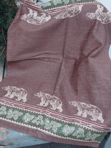 PD Bear Track Dark Brown Jacquard Dish Towel, Moose-R-Us.Com Log Cabin Decor