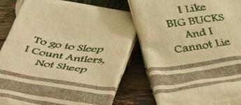 Deer Hunter Theme Cotton Hand Dish Towel Hunter Buck Sayings, Moose-R-Us.Com Log Cabin Decor