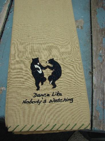 100% Cotton Dishtowel Bears Dance Like Nobody's Watching, Moose-R-Us.Com Log Cabin Decor